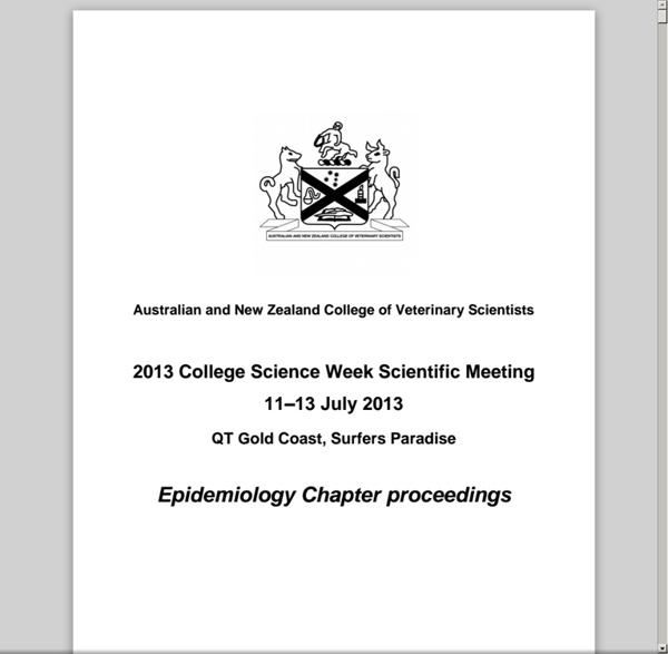 Australian and New Zealand College of Veterinary Scientists - 2013 College Science Week Scientific Meeting 11–13 July 2013 Epide