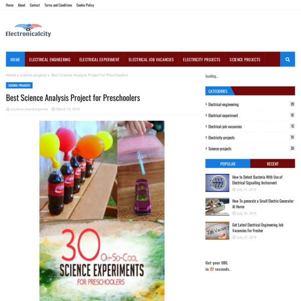 Best Science Analysis Project for Preschoolers