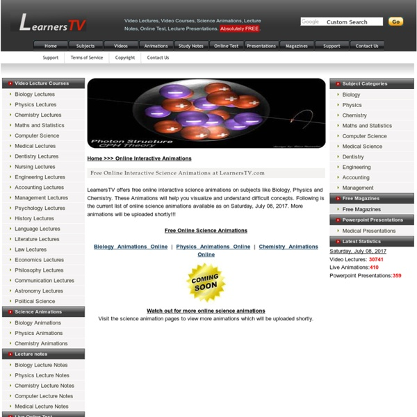 Free Science Animations Online at LearnersTV.com