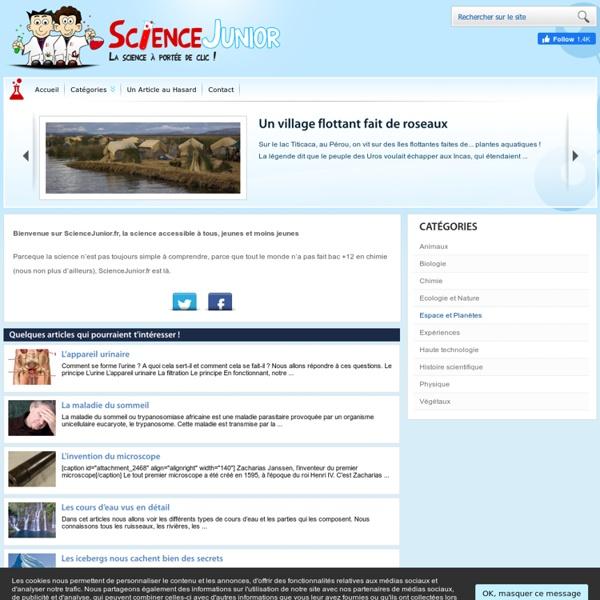 Science Junior .fr, La science accessible à tous, jeunes et moins jeunes