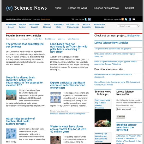 Latest Scientific News