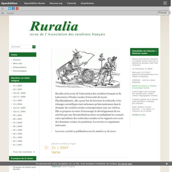 Ruralia - Sciences sociales et mondes ruraux contemporains