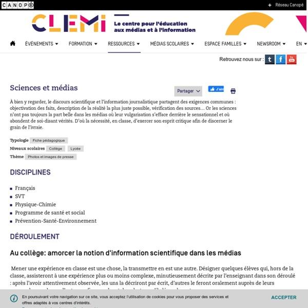CLEMI - Sciences et médias