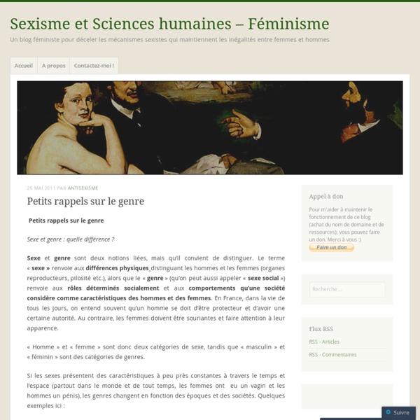 [French] Petits rappels sur le genre « Sexisme et Sciences humaines