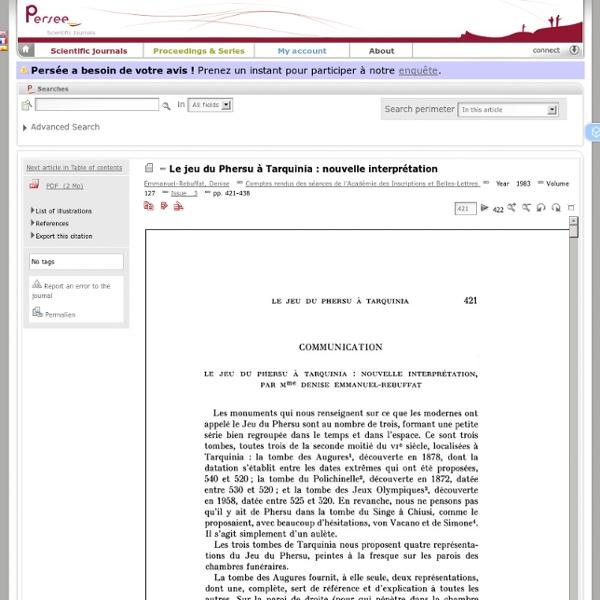 Le jeu du Phersu à Tarquinia : nouvelle interprétation