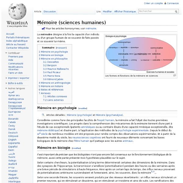 Mémoire (sciences humaines)
