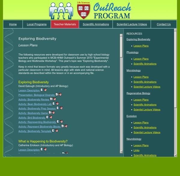 University LS/HHMI High School Science Outreach Program: Resources