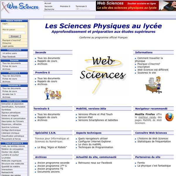 Web Sciences - Soutien scolaire en sciences physiques et approfondissement