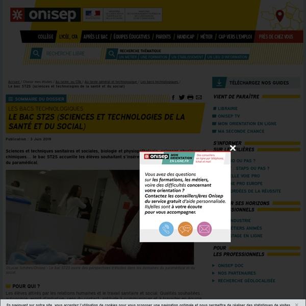 RUB. SITE ONISEP : Le bac ST2S (sciences et technologies de la santé et du social)