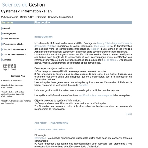 Www.sciencesdegestion.com - Système d'Information