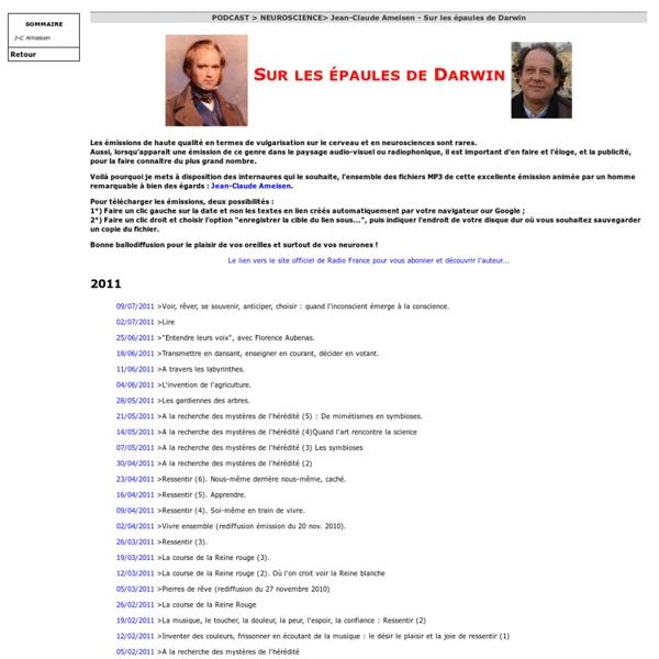 Sciensport > Jean-Claude Ameisen - Sur les épaules de Darwin