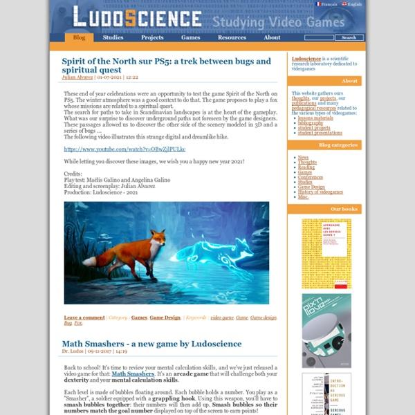 LudoScience - Laboratoire de recherche scientifique sur les jeux vidéo et Serious Games