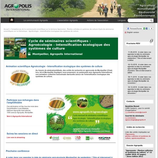 Soutient une animation scientifique en Agroécologie - Intensification écologique des systèmes de culture
