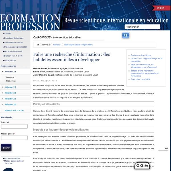 Formation et profession : revue scientifique internationale en éducation 263