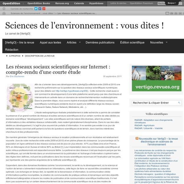Les réseaux sociaux scientifiques sur Internet : compte-rendu d'une courte étude