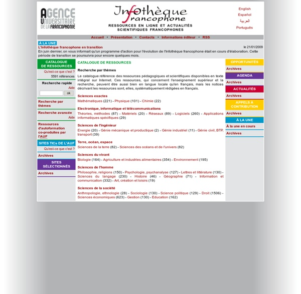 Infothèque francophone - Ressources en ligne et actualités scientifiques francophones