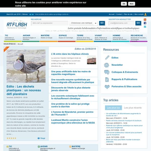 Lettre gratuite hebdomadaire d'informations scientifiques et technologiques - rtflash.fr