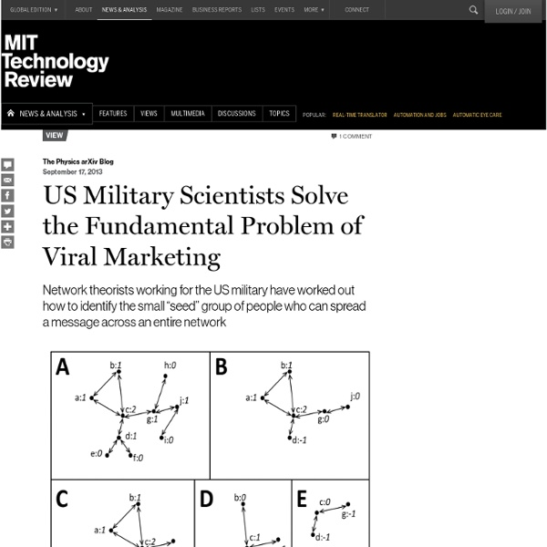 US Military Scientists Solve the Fundamental Problem of Viral Marketing