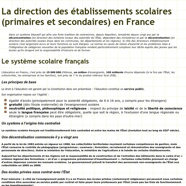 Le système scolaire français - les chefs d'établissement