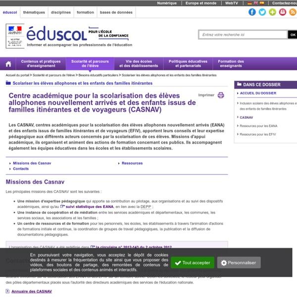 Scolariser les élèves allophones et les enfants des familles itinérantes - CASNAV