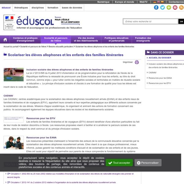 Scolariser les élèves allophones et les enfants des familles itinérantes