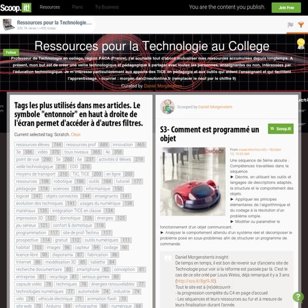 'Scratch' in Ressources pour la Technologie au College
