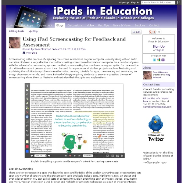 Using iPad Screencasting for Feedback and Assessment
