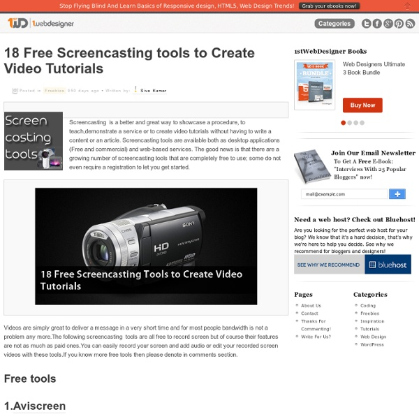 18 Free Screencasting tools to Create Video Tutorials
