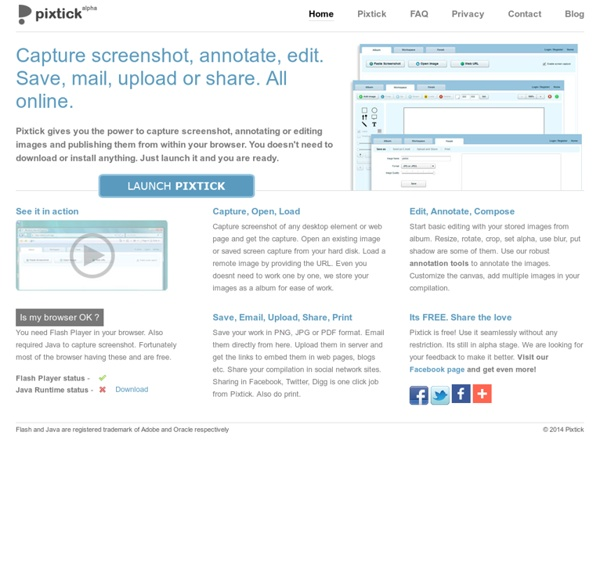 Pixtick - Web app for screenshot capture, image annotation, editing and publishing