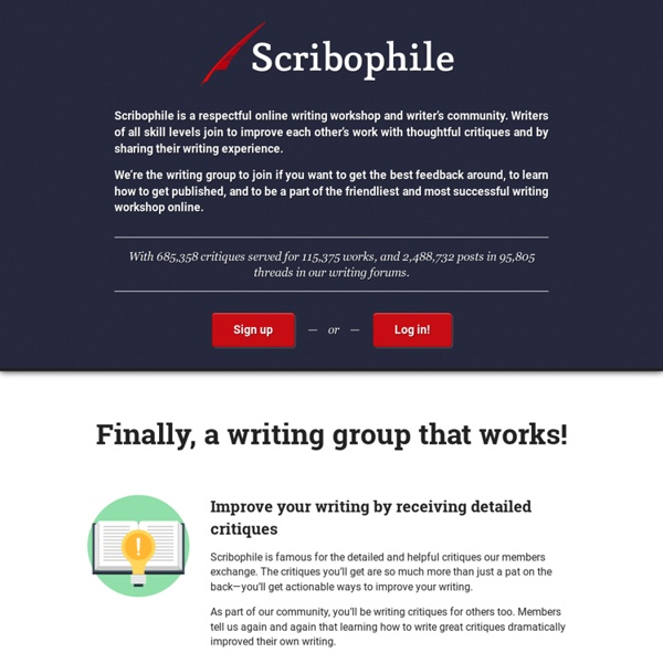 Writing group and online writing workshop for serious writers