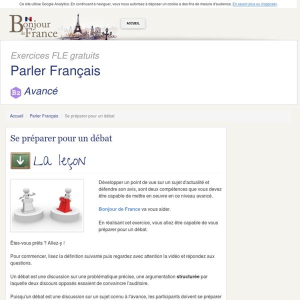 Parler français B2 : Se préparer pour un débat