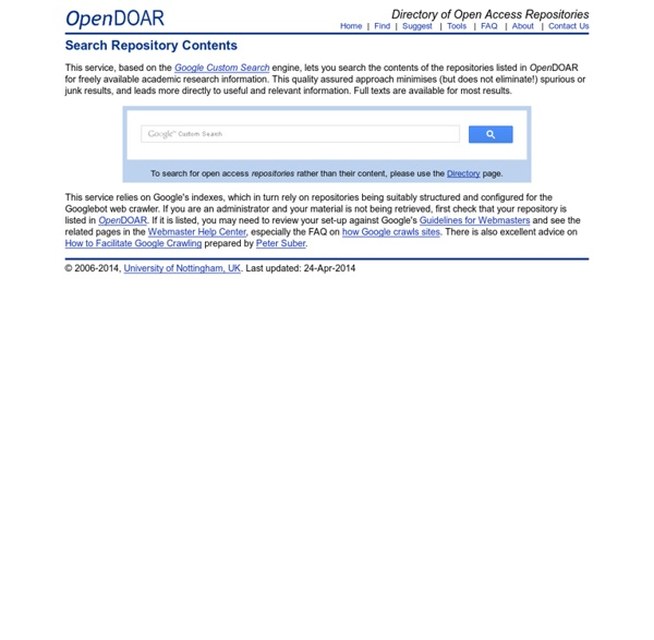 Search Contents of Open Access Repositories