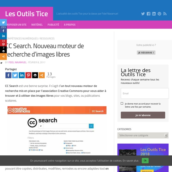 CC Search. Nouveau moteur de recherche d'images libres – Les Outils Tice
