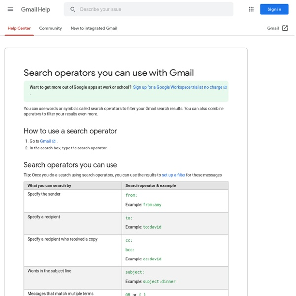 Using advanced search - Gmail Help
