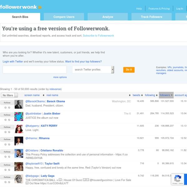 Search Twitter Bios and Profiles - Followerwonk