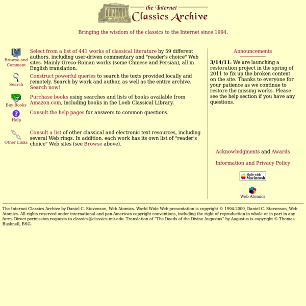 The Internet Classics Archive: 441 searchable works of classical literature