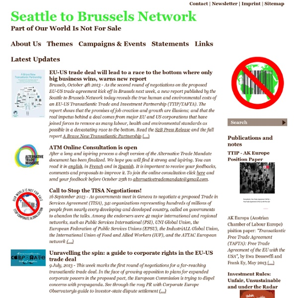 Seattle to Brussels Network - Latest Updates