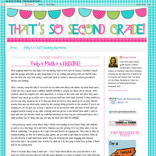 That's So Second Grade!: Daily 5 Math & a FREEBIE!