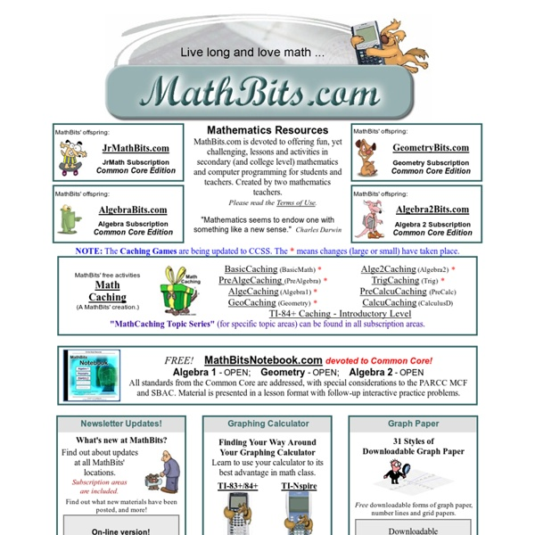 Math Bits Secondary Math Resources with the Common Core