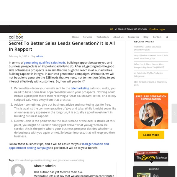 Secret To Better Sales Leads Generation? It Is All In Rapport