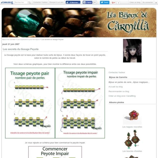 Les secrets du tissage Peyote - Bijoux de Carmilla