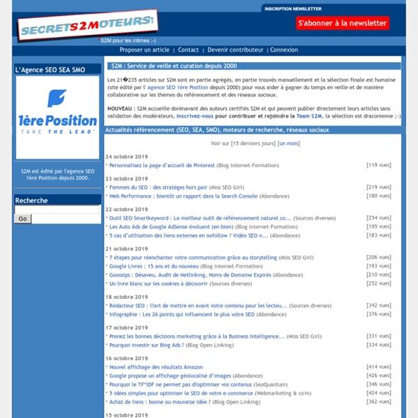 S2M : Actualités et veille référencement SEO SEA SMO : Google, Facebook, Twitter, Bing, Yahoo