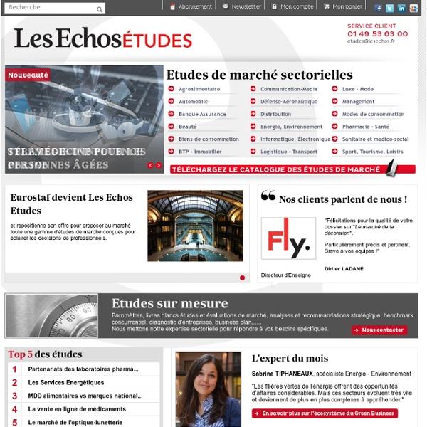 Etude de marché, études ad hoc, analyse de marché sectorielle et internationale - Les Echos Etudes