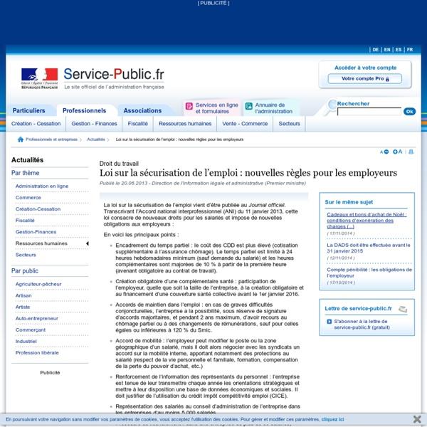 Loi sur la sécurisation de l'emploi : nouvelles règles pour les employeurs - service-public.fr