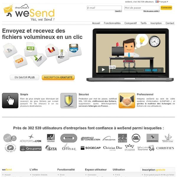 Solution sécurisée de transfert de fichiers volumineux - weSend