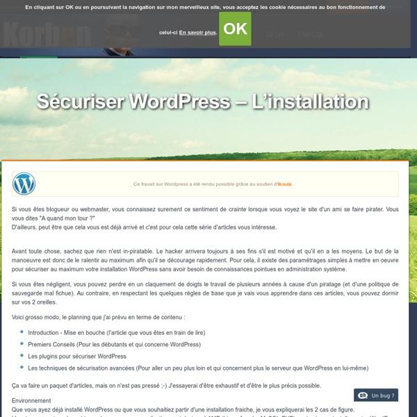 Sécuriser Wordpress - L'installation - Korben