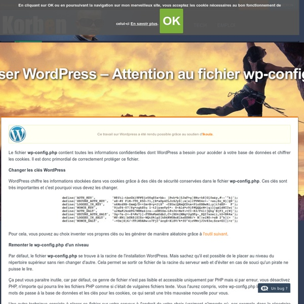 Sécuriser Wordpress - Attention au fichier wp-config.php