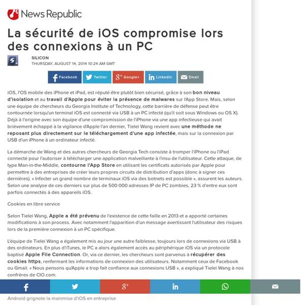 La sécurité de iOS compromise lors des connexions à un PC