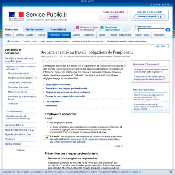 Santé et sécurité au travail : obligations de l'employeur