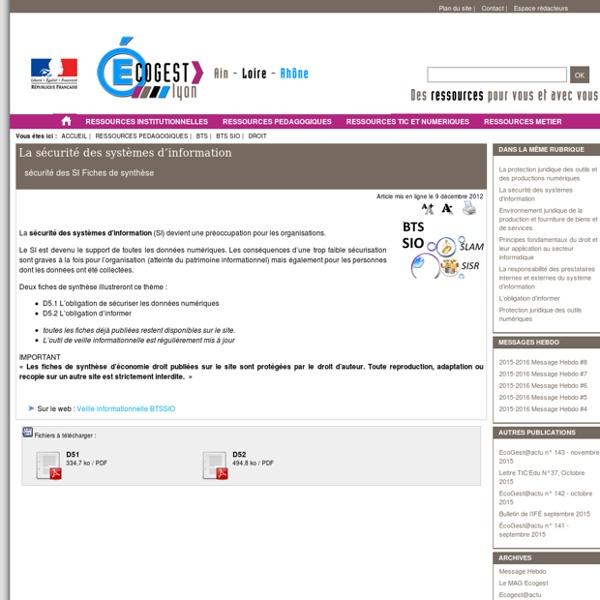 D51 Sécurité des systèmes d'information
